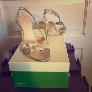 Kate Spade Gold Slingback Peep Toe Heels with Bow